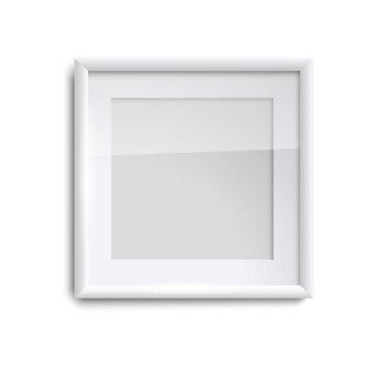 유리, 흰색 사각 빈 그림 프레임 빈 흰색 그림 프레임. 고립 된 화이트 액자 템플릿