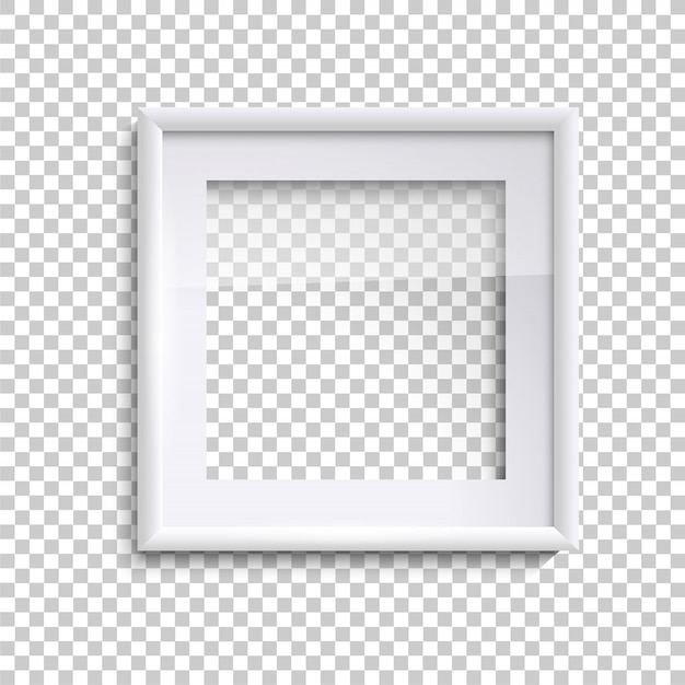 Пустая белая рамка со стеклом, квадратная пустая рамка