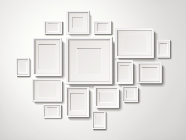 Blank white picture frames collection hanging on the wall, 3d illustration realistic style