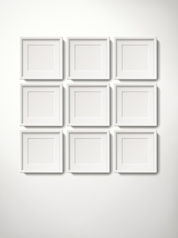 Blank white picture frames collection in an orderly way hanging on the wall, 3d illustration realistic style