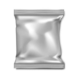 空白の白い枕袋ベクトルモックアップ箔紙またはプラスチックポーチ包装モックアップ