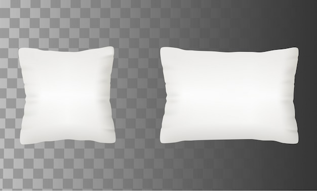 Blank white pillow mock up set vector illustration