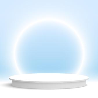 真っ白な表彰台と光るリングラウンド台座化粧品ディスプレイプラットフォーム3dレンダリング