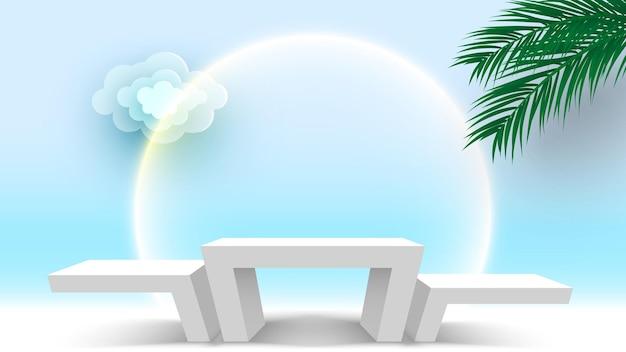 ヤシの葉と雲の台座製品がプラットフォームの3dレンダリングステージを表示する空白の白い表彰台