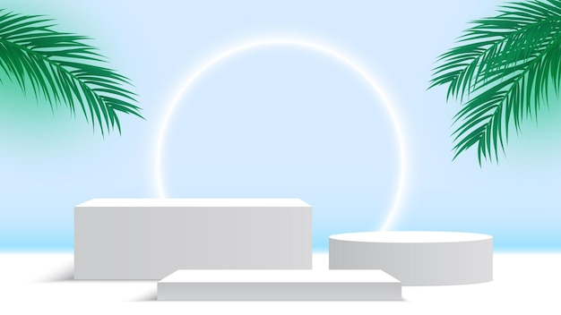 Blank white podium with palm leaves and glowing ring pedestal cosmetic products display platform