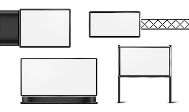Пустой белый рекламный щит плаката для дизайна вектора рекламы.