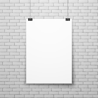 Blank white poster on brick wall vector illustration
