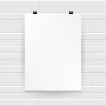 Blank white poster hanging on brick wall. vector