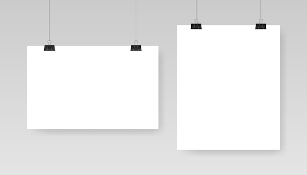 Blank white poster template. affiche, paper sheet hanging on a clip.