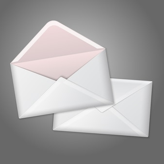 빈 흰색 현실적인 봉투를 열고 닫습니다.