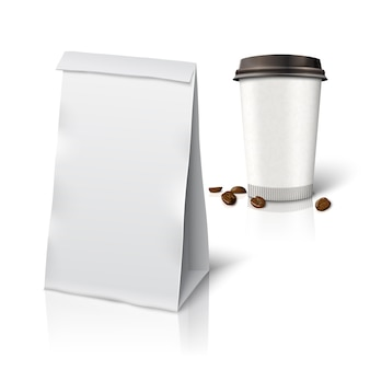 Blank white realistic paper packaging bag and paper coffee cup coffee to go with coffee beans, with place for your design and branding. isolated on white background with reflection.