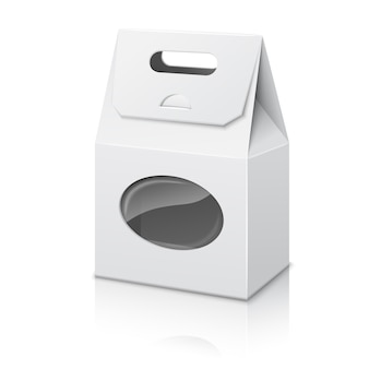 Blank white realistic paper packaging bag with handle and transparent window, with reflection .