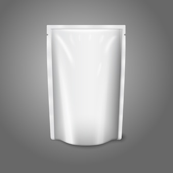 Blank white realistic plastic pouch isolated on grey background