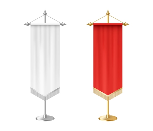 Blank white and red vertical pennants with tassel fringe isolated