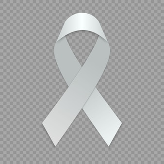Blank white ribbon. template for awareness symbol.