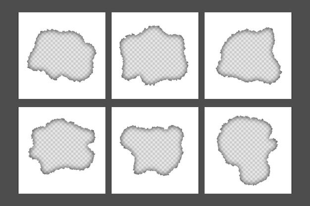 中央の正方形の紙シートコレクションで引き裂かれた空白の白い破れた