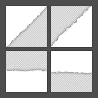 空白の白い破れた正方形の紙シートコレクション