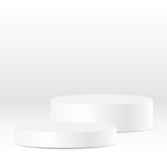 스튜디오 장면에서 뛰어난 고급 제품을 위한 빈 흰색 원형 받침대 또는 원형 연단