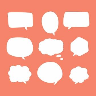 Blank white speech bubbles.