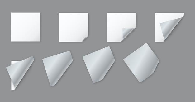 모서리가 말린 빈 흰색 사각형 종이 시트