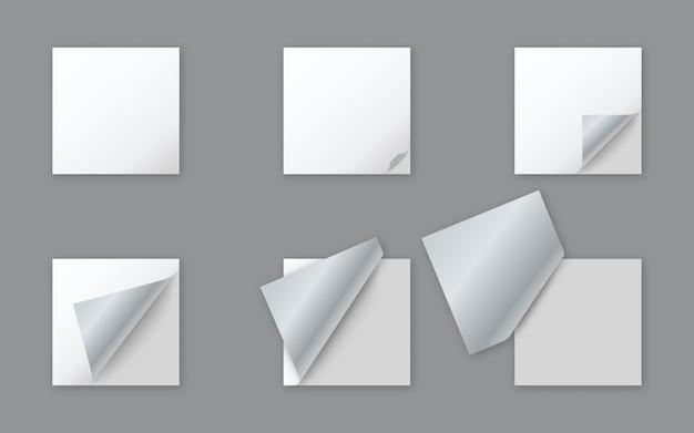 모서리가 말린 빈 흰색 사각형 종이 스티커