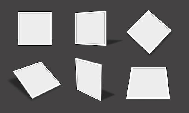 さまざまなビューと角度で空白の白い正方形のフォトフレームモックアップコレクション
