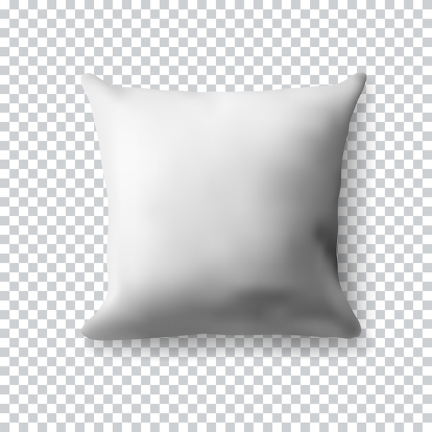 Blank white square pillow on transparent background. realistic  illustration. realistic blank template for your .