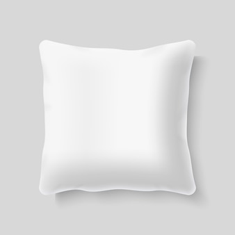 Blank white square realistic pillow cushion vector. template of pillow for bed, illustration of mock