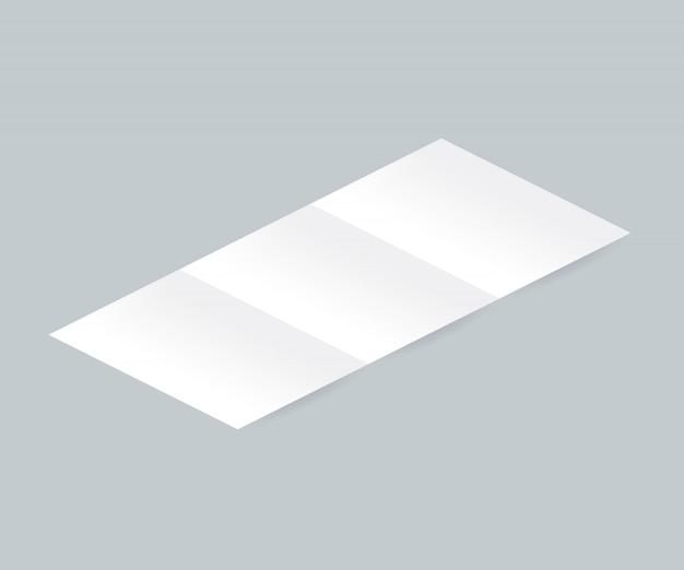 Blank white tri-fold brochure leaflet realistic illustration