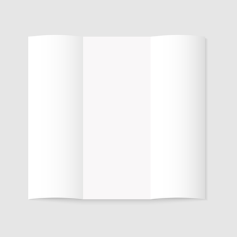 Blank white tri-fold paper brochure on gray background with shadow