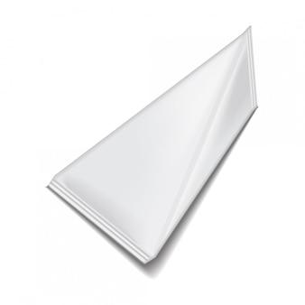 Blank white triangular packet carton juice or milk pack.