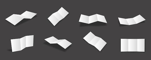 다양한 보기와 각도가 있는 빈 흰색 삼중 브로셔 모형 컬렉션