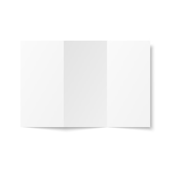 Blank white trifold leaflet opened