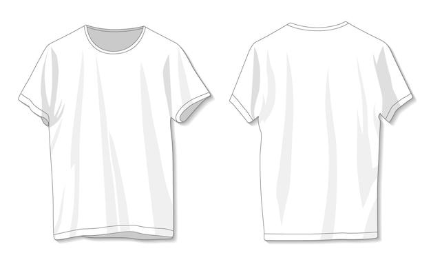 空白の白いtシャツテンプレート前面と背面