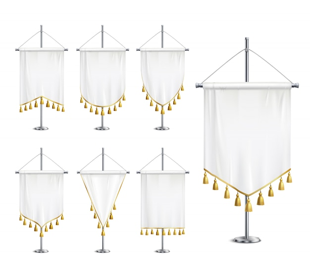 Blank white various shapes pennants with golden tassel fringe on steel spire pedestal realistic set