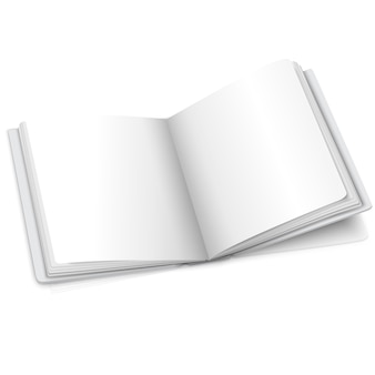 Blank white vector opened book or photo album for your messages, design concepts, photos etc.