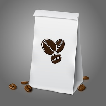 Blank white vector realistic paper packaging coffee bag with coffee sign and coffee beans, with place for your design and branding. isolated on grey background.