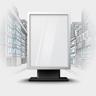 Blank white vertical billboard on city scape blueprint