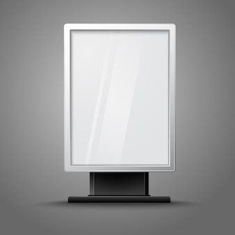 Blank white vertical billboard with place for your design and branding under the glass, isolated on grey background.