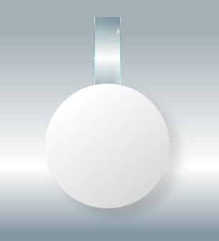 빈 흰색 wobbler는 플라스틱 투명에 있는 d 렌더링 공간 라운드 종이 모형을 조롱하는 벽에 매달려 있습니다.