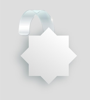 Blank white wobbler hang on wall mock up d rendering space round paper mockup on plastic transparent...