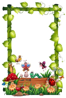 Blank wood frame template with animal garden set