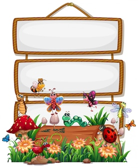 Blank wood frame with animal garden set isolated