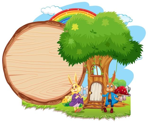 Пустой деревянный баннер в саду с двумя изолированными кроликами