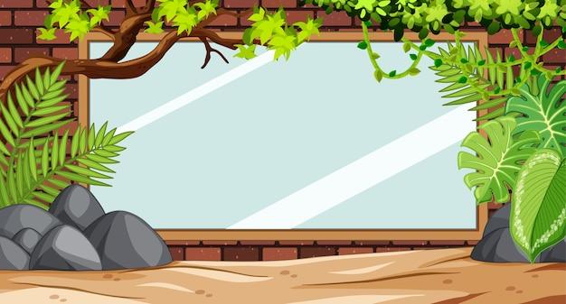 動物園のシーンで空白の木製バナー