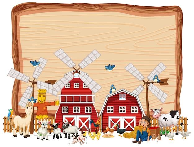 赤い納屋と風車と空白の木製バナー