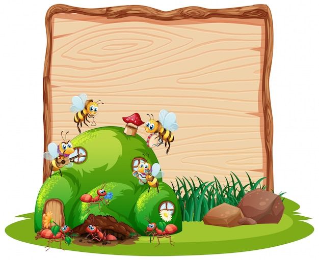 Blank wooden board in nature with animal garden isolated