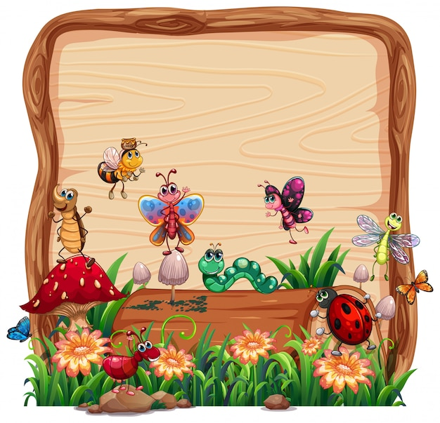 Blank wooden board in nature with animal garden