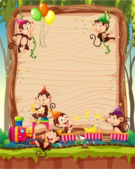 Blank wooden board template with monkeys in party theme on forest background