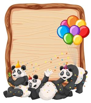 Modello in bianco della tavola di legno con i panda nel tema del partito isolato